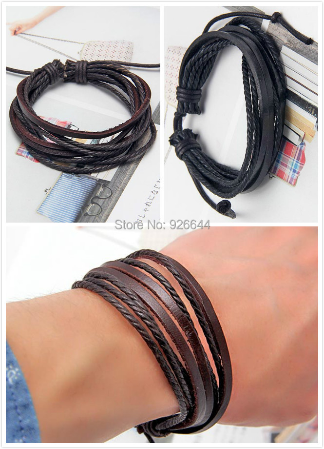 Fashion Jewelry Wrap multilayer Leather Braided Rope Wristband men Love bracelets & bangles 2 color free shipping(China (Mainland))
