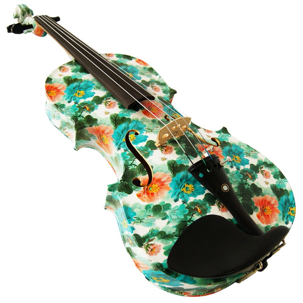 Kinglos 4/4 Full Size Ebony Fitted Solid Wood Colored Elegant Violin with Case, Bow, Rosin (YZ1206)(China (Mainland))