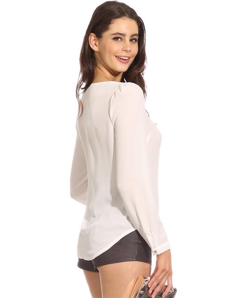 Hot Sale mulheres blusas Zip camisa Casual manga comprida decote em V cor sólida Chiffon blusa verão outono Femal blusa