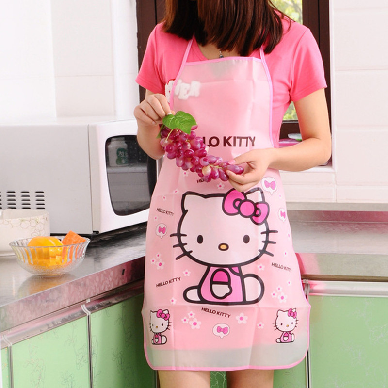 Kawaii Cartoon Hello Kitty Waterproof Apron Kitchen Women Kids Novelty Children Aprons/cute designs(China (Mainland))