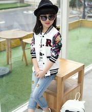 Teenage Girls Baseball Jackets Spring Autumn 2015 New Kids Girls Hoodies Sweatshirt Girls Sportswear Top Girls Patterned Coat(China (Mainland))