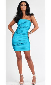 Free shipping wholesales off-shoulder blue Beading cocktail dress