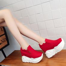 Stivali della Caviglia delle donne di Modo Grande Fiore Rosso Scarpe Delle Signore della Molla di Casual Scarpe Altezza Crescente Scarpe Da Tennis Della Piattaforma Zapatos Mujer(China)