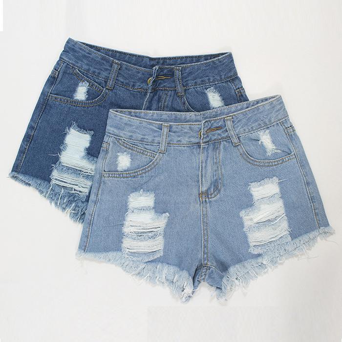 2015 summer new Moodeosa 1PC Women Vintage High Waist Jeans Hole Short Jeans Denim Shorts Free shipping & wholesale(China (Mainland))