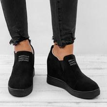 Frauen Stiefeletten Keile Plattform Frühling Weibliche Hohe Ferse Zunehmende Schuhe Damen Elastische Band Mode Casual Schuhe Plus Größe(China)