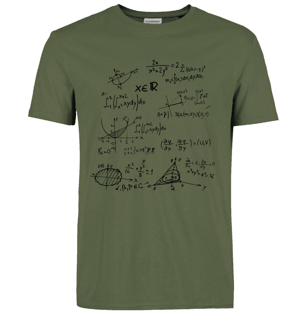 T Shirts 2016 Mathematical Formula Print Men Cotton Brand
