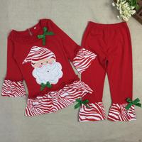 Fashion Girls Boutique Outfits Holiday Childrens Clothing Sets Christmas Santa Long Sleeve Tops+Ruffle Pants Sport Suits B405