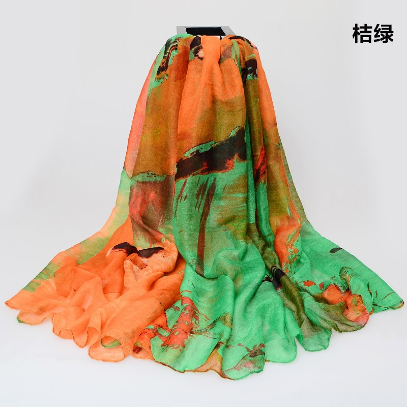 180*110cm Color Mixture Ladies Large Cotton Scarf Female Summer Beach Cover Ups Printed Gradient Long Voile Scarf Air Warm Pareo