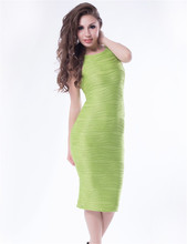 RW79737 Green sleeveless midi dress fashion trend structured bodycon dresses hot sale sexy 2016 new style summer dress