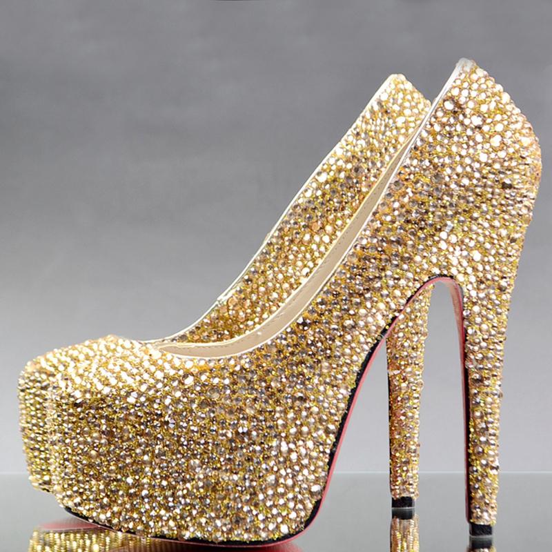 Gold Rhinestone Heels