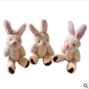 free shipping 7.5CM=2inch small size cheap mini rabbit jointed plush stuffed doll bouquet toy wholesale 100pcs/lot<br><br>Aliexpress