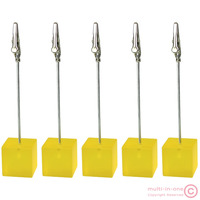 Lot 5pc yellow cube wire picutre/note/card/table/memo clip/photo holder,wholesale promotional gift,meeting wedding place deco