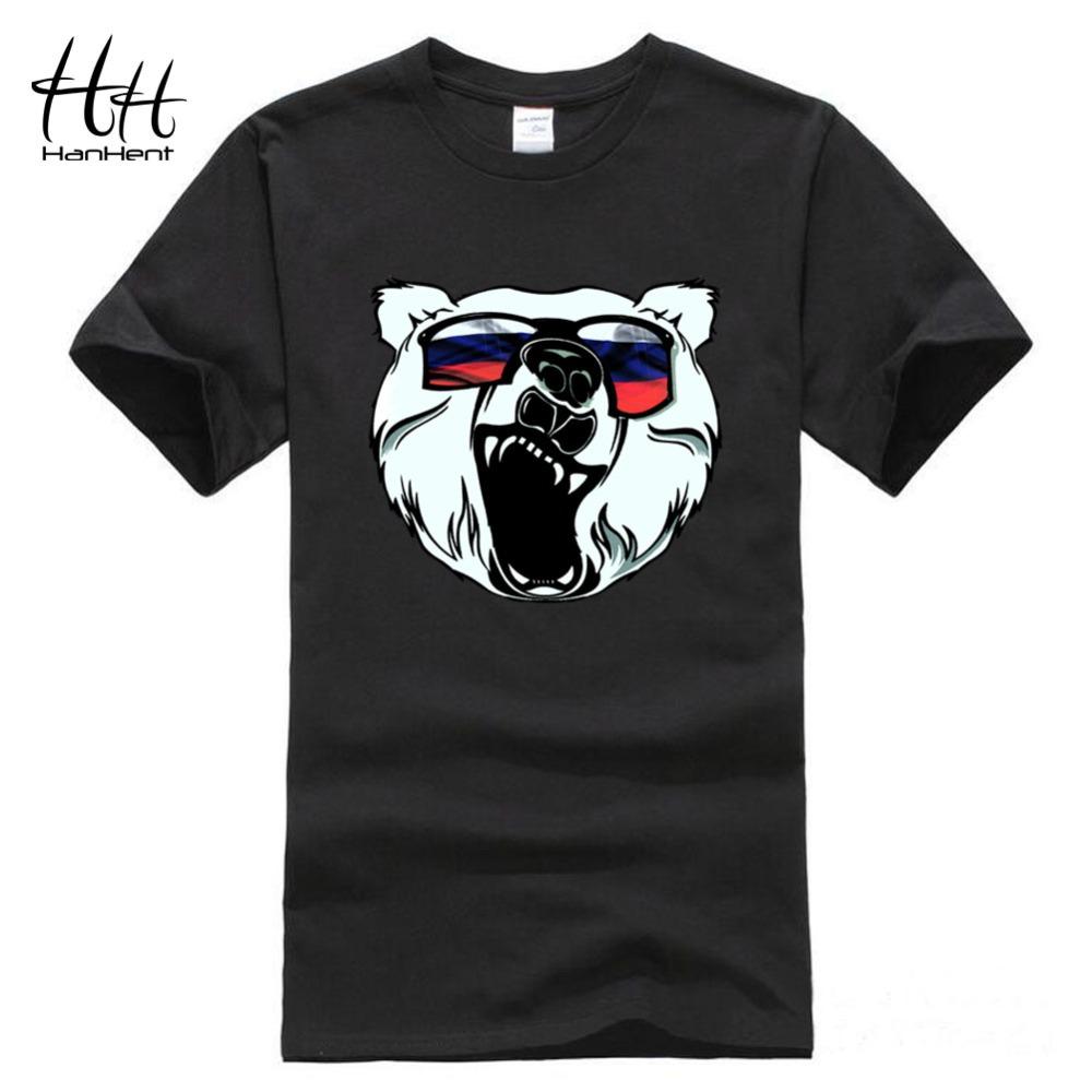 HanHent Russian Bear Printed T-shirts Men Fashion Man's TShirt Cotton Round Neck Short Sleeve Russia Swag Summer Animal T shirt(China (Mainland))