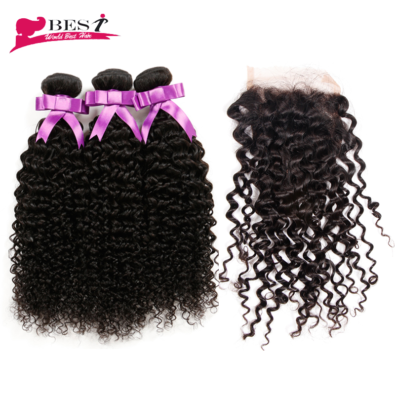 Virgin Brazilian Curly Hair with Closure Curly Weave Human Hair Bundle Free Part Lace Closure Brazilian Virgin Hair with Closure<br><br>Aliexpress