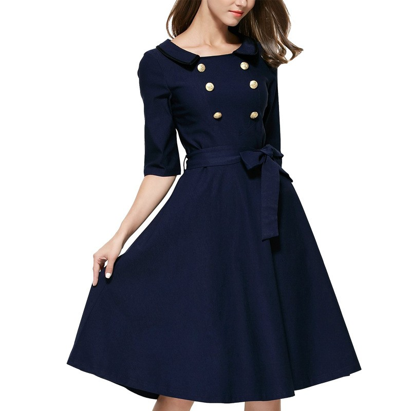 Blue Color Double Breasted Lapel Collar Belted Sleeves European Fashion Ladies Coat Style A Line Dress L36102 (2)