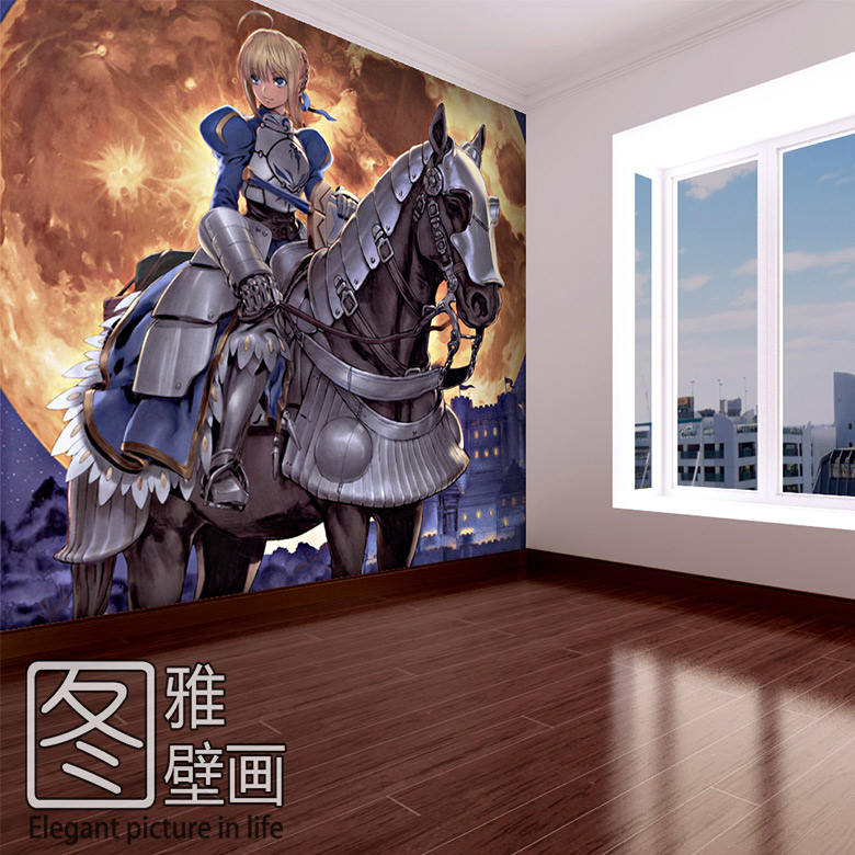 Free shipping Fate ate / stay night anime mural bedroom bedroom wallpaper backdrop unlimited sword system Custom Size(China (Mainland))