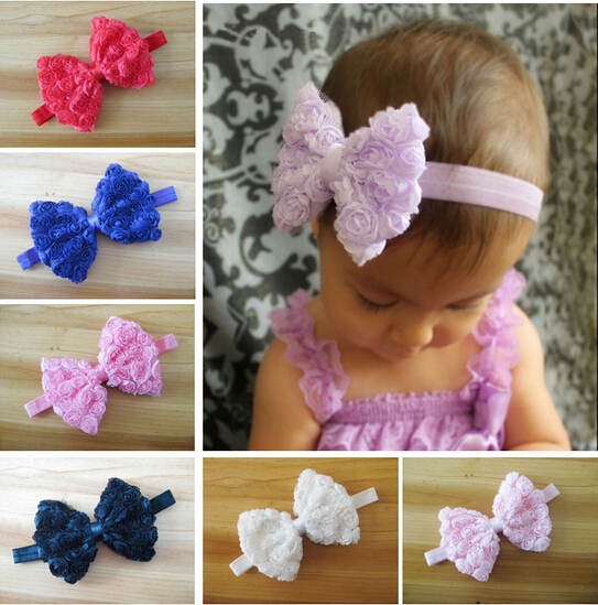 Fashion Hot Sale Colourful Baby Girl Kid Headband Bow Lace Flower Hairband 10 Colors Drop Shipping A187(China (Mainland))