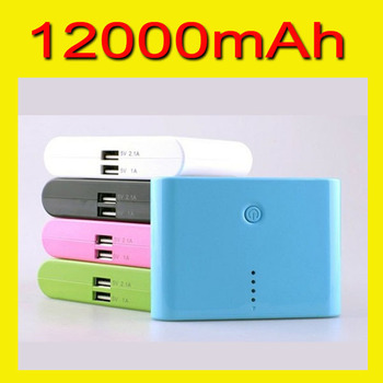 New 12000mAh Portable External backup Battery charger, 2 USB port & 5 Colors available in stock, fit lots of mobile phone