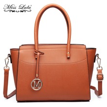 Buy Miss Lulu (Buy 1, Get 1 50% Off) Women Faux Leather Winged Handbag Large Cross Body Shoulder Satchel Tote Bag Brown LT6627 for $36.99 in AliExpress store