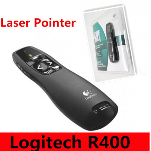 Brand Logitech R400 2.4G RF Mini Wireless Laser Pointer Presenter with LED Red laser ,Laser pen with retail package(China (Mainland))