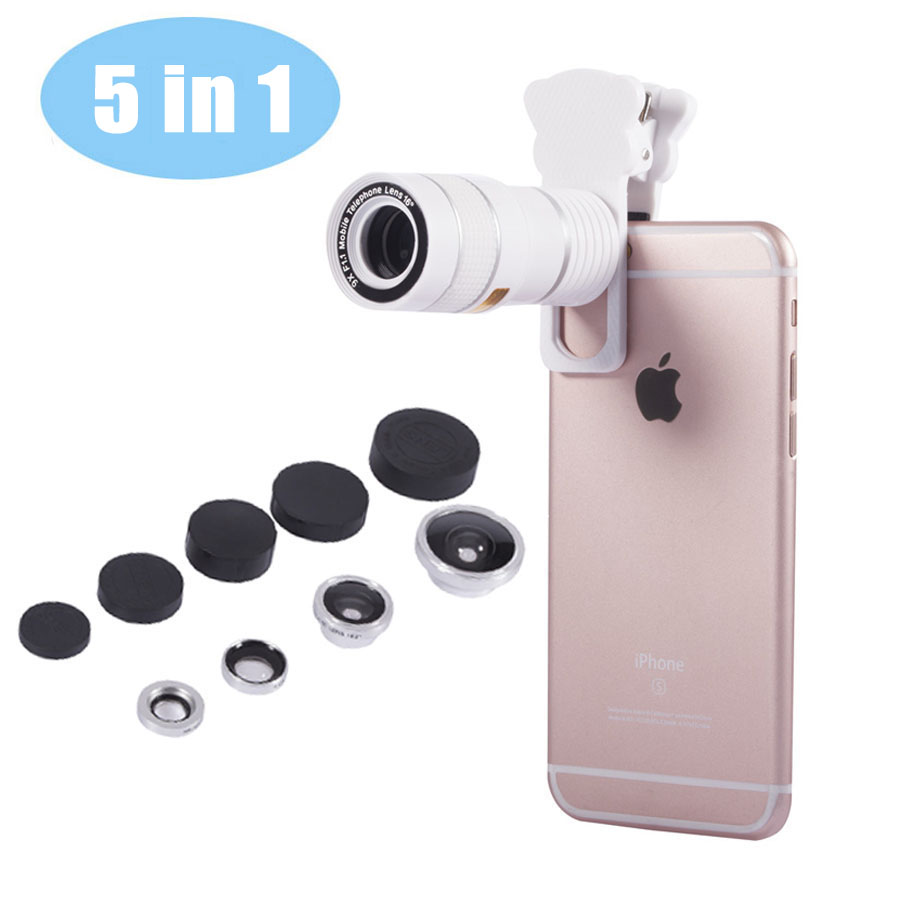 5 in 1 Universal Phone Camera Lens Cat Clip 9X Telephoto Lens Wide Angle Macro lens Fisheye Lens for iPhone 5 6 S Plus Samsung