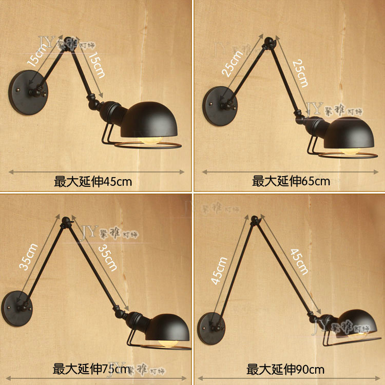 Nordic ultra long arm two arms three telescopic renovated clubhouse bedside lamp Iron Cafe deck France trumpet wall lamp(China (Mainland))