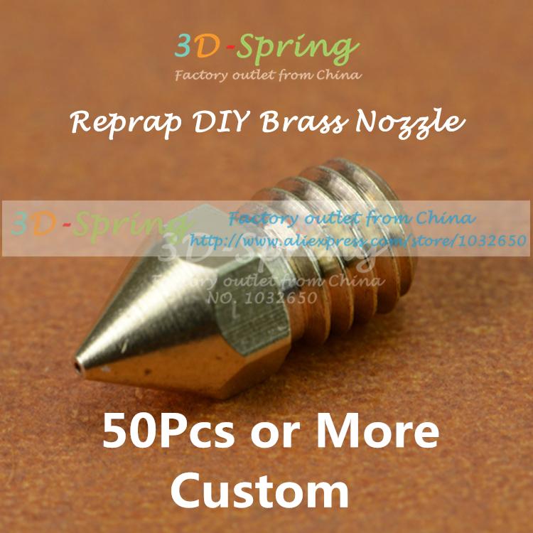 50Pcs Reprap DIY Brass Nozzle 0 3mm 0 4mm 0 5mm For 1 75MM 3MM Filament
