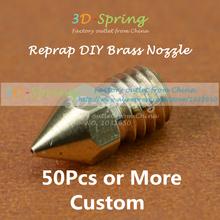 50Pcs Reprap DIY Brass Nozzle 0.3mm 0.4mm 0.5mm For 1.75MM 3MM Filament Print Head 3 D printer accessory High Quality