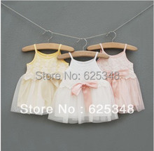 Top Sale 2015 Summer Princess Party Baby Girl Dresses Children's Lace Dresses,Baby Girl Clothes,Baby Dress yellow pink white(China (Mainland))