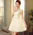 Princess Style 2016 elegant short design light champagne bandage special occasion dress for prom wedding and