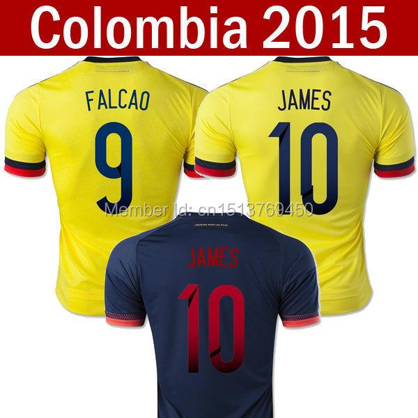 Camiseta new Colombia 2015 jersey soccer 2016 James jersey Falcao Colombia free shipping 15 16 colombia 2015 camiseta de futbol(China (Mainland))
