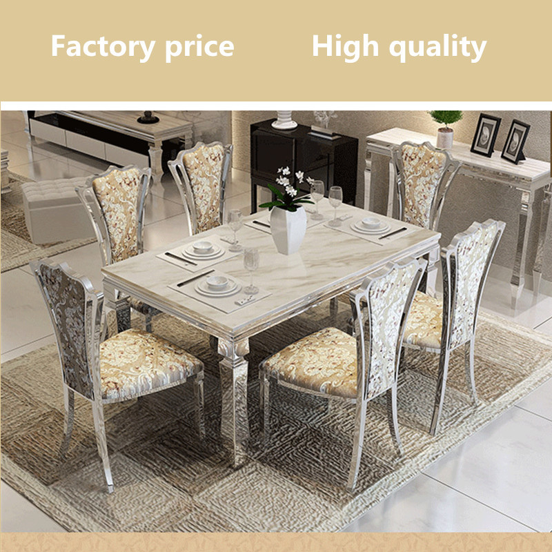 Contemporary modern dining set stainless steel marble top for Modern dining room table sets