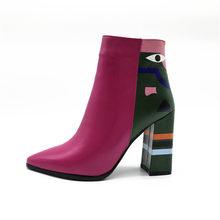 FEDONAS 2019 Mode Marke Frauen Stiefeletten Druck High Heels Damen Schuhe Frau Partei Tanzen Pumpt Grund Leder Stiefel(China)