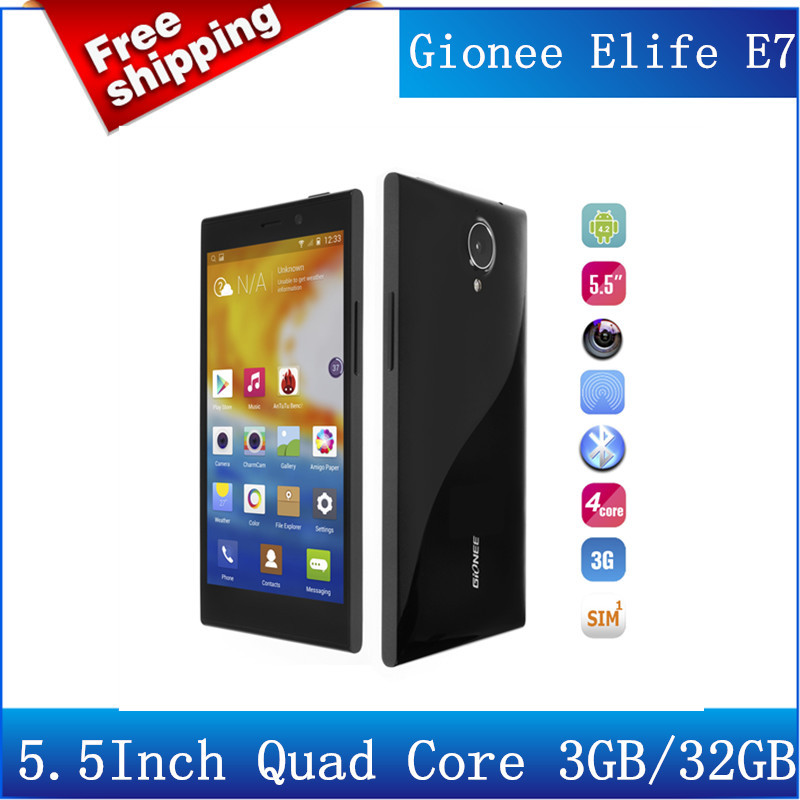 In stock!Original GIONEE ELIFE E7 3GB RAM 32GB Qualcomm Snapdragon 800 Quad Core ROM Android 4.2 Phone 2.2 GHz 5.5 Inch/Avil(China (Mainland))