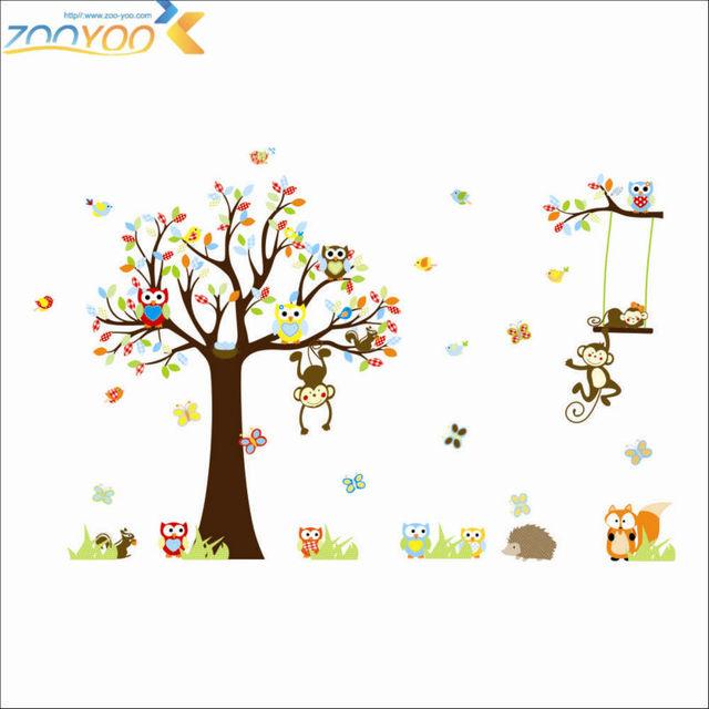 150 * 234 см милые обезьяны совы играя на деревья стены стикеры для детей номеров съемный пвх стены этикету для детей номеров ZYPA-1212