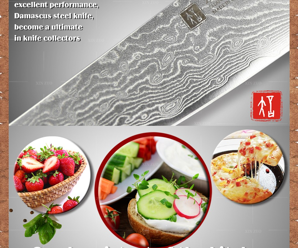 "Buy HIOT XINZUO 5"" Utility knife paring fruit knife Japanese VG10 Damascus kitchen knife colour wood handle for FREE SHIPPING cheap"