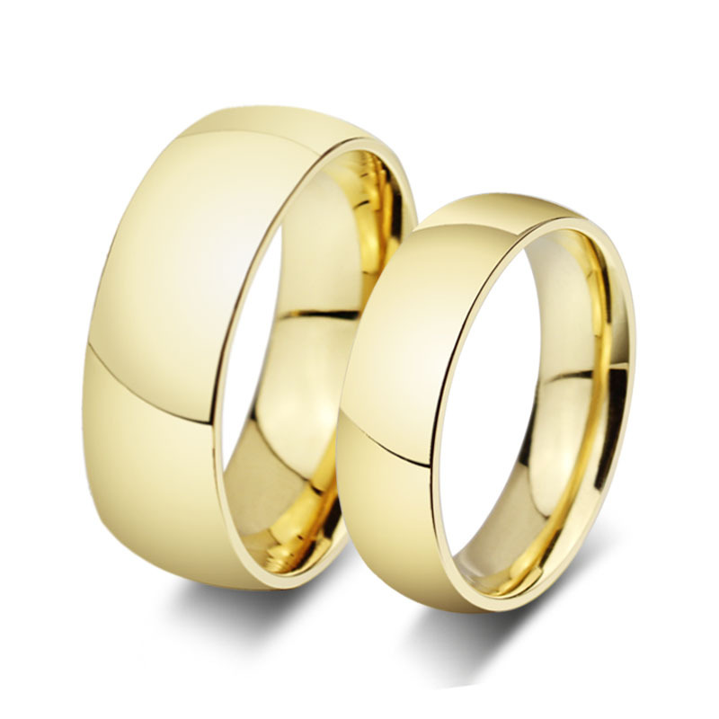 18K gold filled rings for men and women wedding and engagement ring stainless steel alianca(China (Mainland))