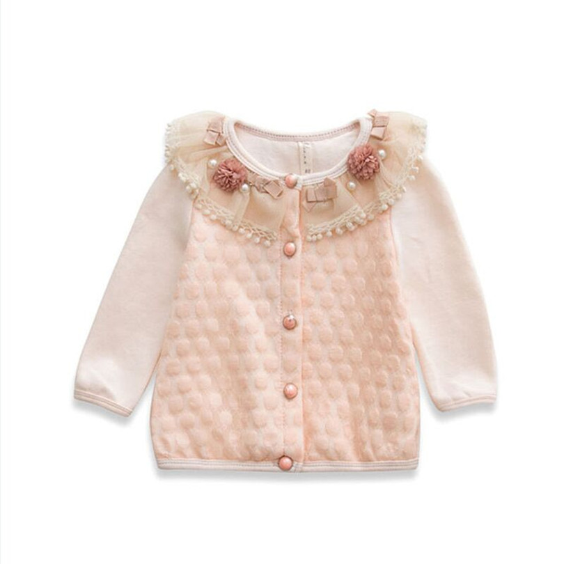 2015 lace flowers pearls 100% cotton children pretty tops baby girl shirt kids tees shirt baby girls clothes 2 color 0-2 yrs(China (Mainland))