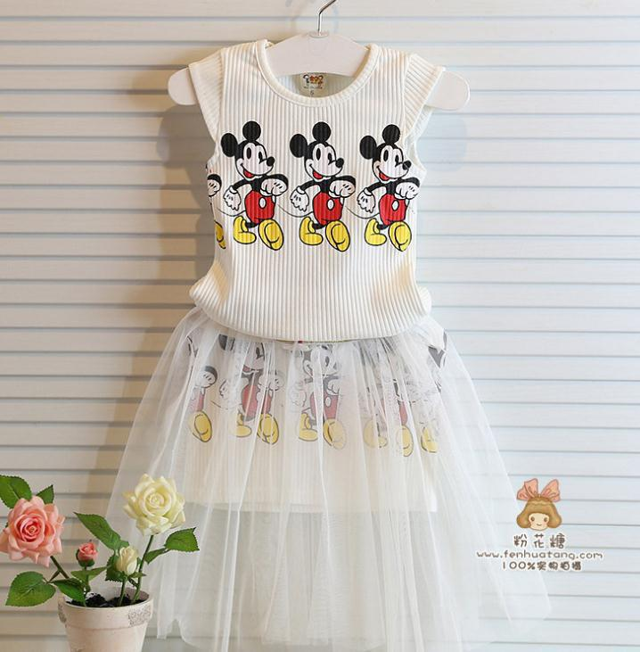 2015 Unique Designed Children Girls Summer sets,2pcs white cartoon minnie top+cartoon skirt casual girls suits 2-8Yrs(China (Mainland))