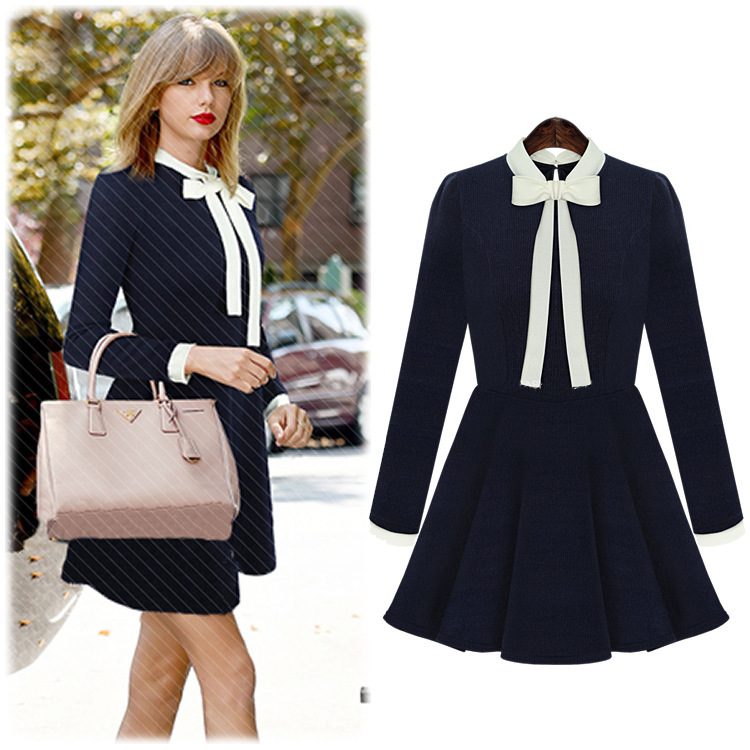 European Style 2015 Spring New Fashion Slim Women Dress Long Sleeve Bow Dresses Black / Blue Color(China (Mainland))