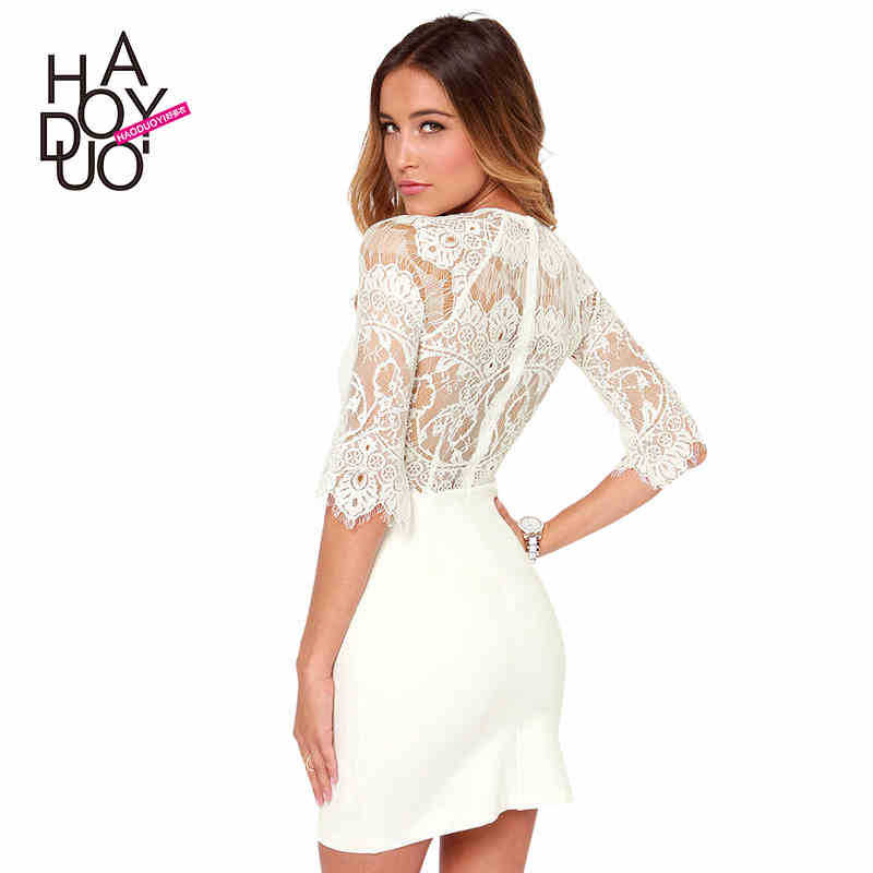 eyelash lace patchwork back zipper woman skinny chiffon dress for wholesale and free shipping haoduoyi Одежда и ак�е��уары<br><br><br>Aliexpress