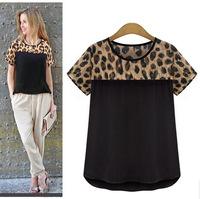 Women Blouses Leopard Print Short Sleeve Chiffon Shirts Ladies Tops Casual Women's Clothing 2015 New Summer White Black Blusas