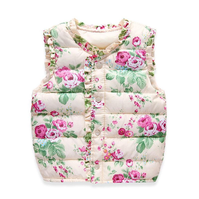 Girls Vests Children's Down Cotton Warm Vest Baby Girls Sweet Floral Waistcoat High Quality Kids Vest Outerwear 2-7 Years(China (Mainland))