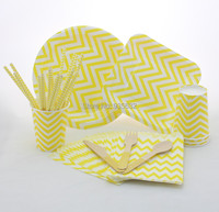 Free Shipping 346pcs Party Wedding tableware combo paper straws cups plates bags Wooden Cutlery Party Tableware Sets