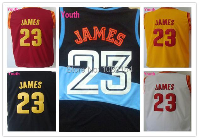 Best Youth LeBron James Jersey #23 Cleveland Yellow Red White Black Boys Rev30 James Basketball Jersey Kids Jersey 100% Stitched(China (Mainland))