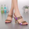 2016 Summer Women s New Purple High heeled Sandals Wedges Roman Luxury Diamond Shoes