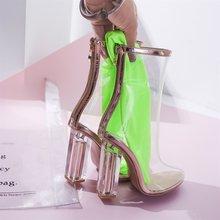Yüksek Kalite Kadın Moda Şeffaf Çizmeler Yüksek Topuk Fermuar Ayak Bileği Çizmeler Yuvarlak Ayak Bahar Sonbahar Seksi Bayanlar Ayakkabı 2018 Yeni(China)