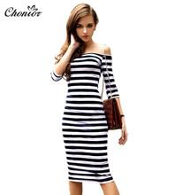 2016 Summer Women Sexy Off Shoulder Striped Dresses Ladies Fashion Slim Stripe Stretch Casual Beach Bodycon Pencil Dress Cotton(China (Mainland))
