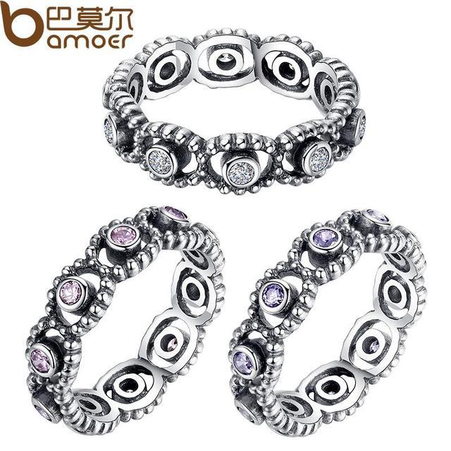 Горячая 925 серебряная свадьба кольца с кристаллом для женщин совместим с Fit оригинальный ...