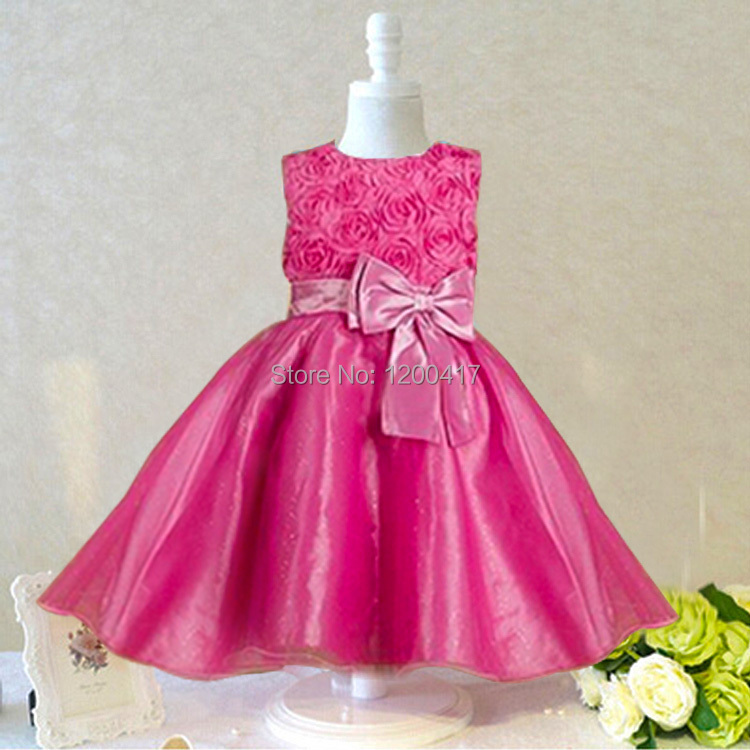 1 piece only-high quality 2015 new Girls dress for baby children Purple pink roses chiffon princess dresses, kid brand clothes(China (Mainland))